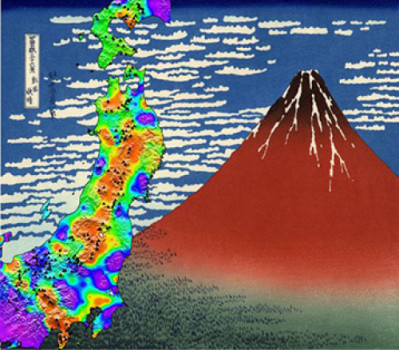 Imaging seismic susceptibility makes it possible to detect regions affected by high-pressure volcanic fluids. The image in the background is catalogued as 'Red Fuji' (Katsushika Hokusai, 1830). Credit: Copyright Florent Brenguier