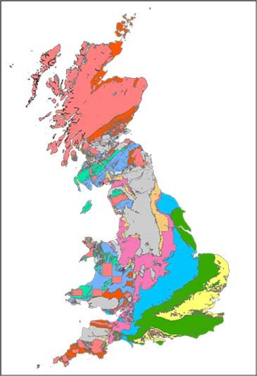 A map showing the geology of Great Britain spanning the past 550 million years. Credit: Dr Alex Dunhill