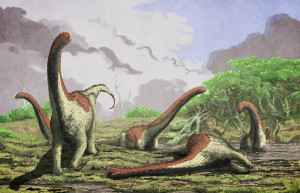 An artistic rendering of a deceased Rukwatitan bisepultus individual in the initial floodplain depositional setting from which the holotypic skeleton was recovered. Credit: Mark Witton, University of Portsmouth