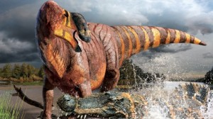 The newly discovered hadrosaur, Rhinorex condrupus, has a truly distinctive nasal profile. Credit: Terry Gates