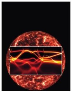 This is a conception of Earth's core overlaid by the electronic structure of iron; the width (fuzziness) of the lines results from the electron-electron scattering. Image courtesy of Ronald Cohen. Credit: Ronald Cohen