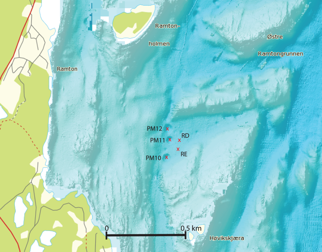 Bathymetric map of the sampling area in the Oslofjord.  The red crosses indicate the sampling sites and the sampling site designation is given. The map was generated with the www.mareano.no website.  doi:10.1371/journal.pone.0085990.g001