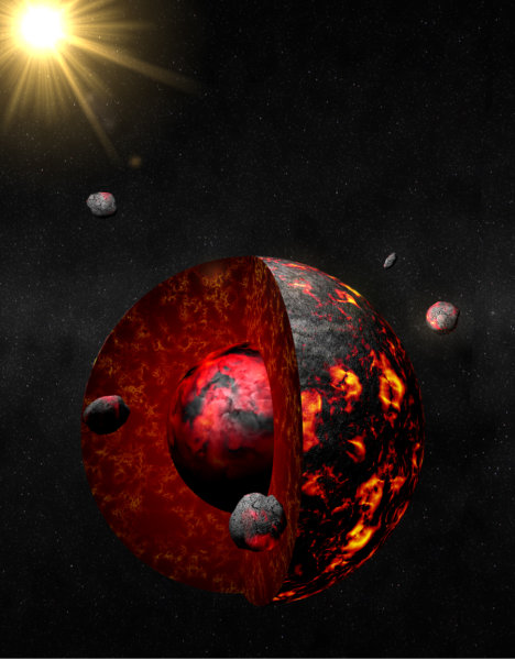 This model shows planetesimals (objects formed from dust, rock and other materials that can be anywhere in size from several meters to hundreds of kilometers) accreting to a growing Earth 4.56 billion years ago. The cutaway reveals the simultaneous formation of the Earth's core as dense, iron-rich metallic material descending through a planetary magma ocean. Credit: Antoine Pitrou/Institut de Physique du Globe de Parise Physique