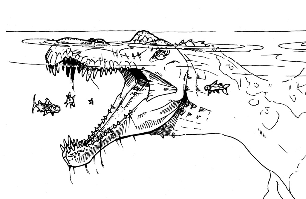 An illustration of Spinosaurus swallowing a snack. (Credit: Jason Poole)