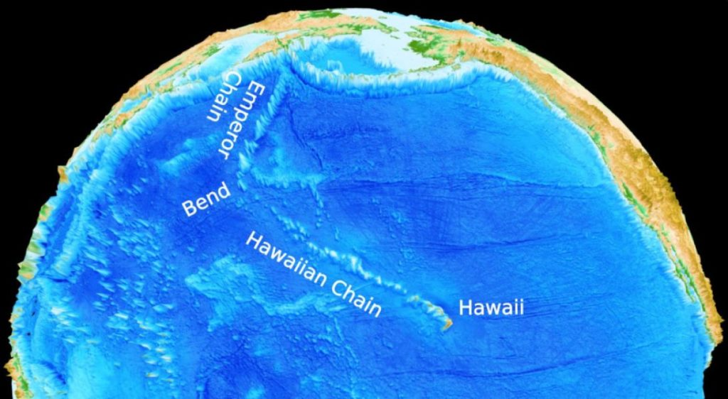 This is a Hawaii-Emperor seamount chain. Credit: University of Sydney