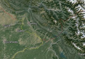 An anticipated earthquake generated on the Riasi Fault would have a major impact on Jammu. Image-Google Earth