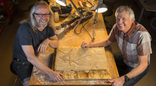 Michael Caldwell (L) and Philip Currie (R) pictured with the pterosaur before its return to Lebanon Credit: U of Alberta