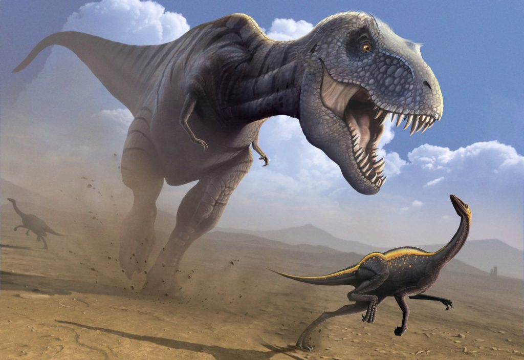 Artwork of a Tyrannosaurus rex hunting