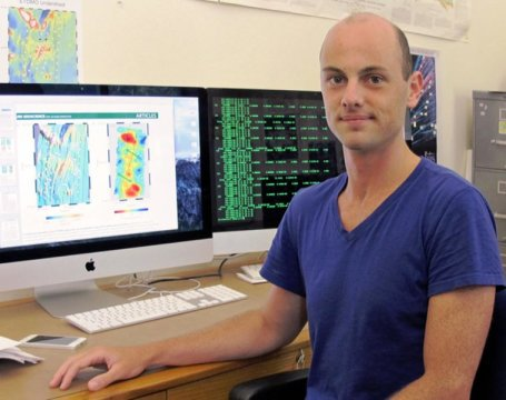 Brandon VanderBeek, a doctoral student at the University of Oregon, led a study that investigated interactions of the Earth's mantle and tectonic plates off the coast of Washington state. Credit: University of Oregon