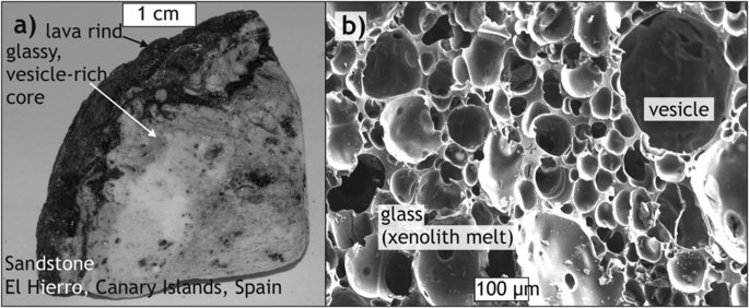Appearance and structure of a frothy sandstone xenolith sample from the 2011 offshore eruption at El Hierro, Canary Islands, Spain