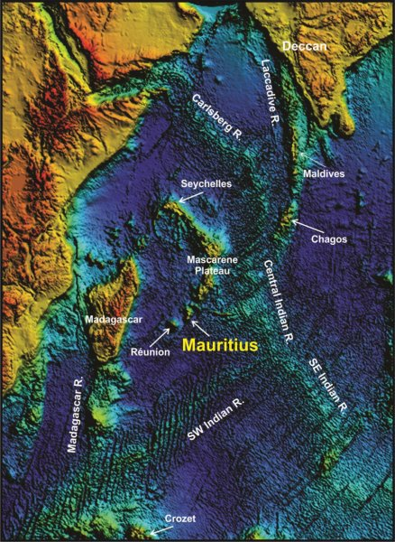This is Indian Ocean topography showing the location of Mauritius as part of a chain of progressively older volcanoes extending from the presently active hot-spot of Réunion toward the 65-million-year-old Deccan traps of northwest India. Credit: Wits University
