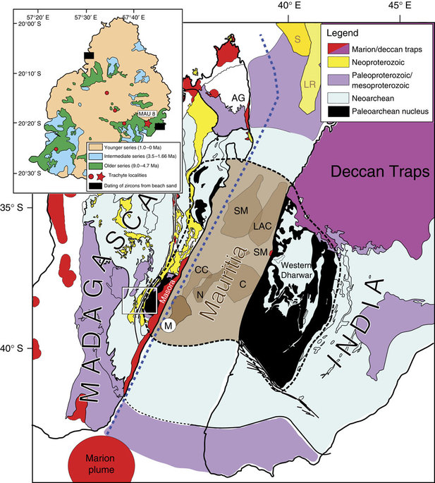 Mauritius (M) is reconstructed in a likely location near Archaean–Neoproterozoic rocks in central-east Madagascar just prior to break-up2. The exact size and geometries of Mauritius and other potential Mauritian continental fragments (collectively known as Mauritia, including SM Saya de Malha; C, Chagos; CC, Cargados-Carajos Banks; LAC, Laccadives; N, Nazreth; see present location in Fig. 6) are unknown, and are generously drawn in the diagram. We propose that Mauritia is dominantly underlain by Archaean continental crust, and part of the ancient nucleus of Madagascar25,46 and India20,21 (stippled black line). A Large Igneous Province event (linked to the Marion plume) occurred from 92 to 84Ma, and most of Madagascar was covered with flood basalts (full extent not shown for simplicity). Blue stippled line indicates the site of Cretaceous pre-breakup strike-slip faulting. AG, Analava gabbro (91.6Ma); LR, Laxmi Ridge; S, Seychelles; SM, St Mary rhyolites (91.2Ma)41. The black–white box (geology of Madagascar) is enlarged in the inset to Fig. 5. Inset map shows simplified geology of Mauritius, including trachyte plugs7. Star symbol marked MAU-8 is the sampling area for the present study and black bars indicate locations of zircons recovered from beach sand samples2.