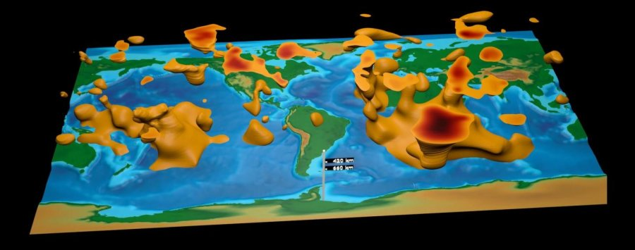 This visualization is the first global tomographic model constructed based on adjoint tomography, an iterative full-waveform inversion technique. The model is a result of data from 253 earthquakes and 15 conjugate gradient iterations with transverse isotropy confined to the upper mantle. Credit: David Pugmire, ORNL