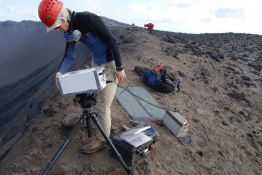 Simon Carn measures gas emissions from Mount Yasur in the island nation of Vanuatu in 2014. Credit: Simon Carn