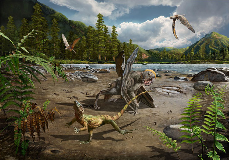 CHASE SCENE Lizards may have run from the jaws of predatory pterosaurs in the swamp and lake environment where Sauripes hadongensis tracks were found, as in this illustration. CHUANG ZHAO